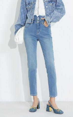 氣質顯瘦設計高腰九分牛仔褲