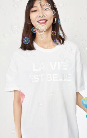 刺繡字母印花不規則下擺設計T恤