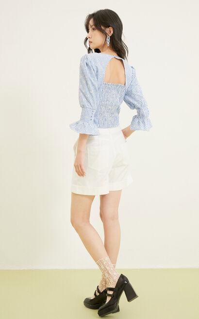 鏤空雕花設計短褲, 白, large