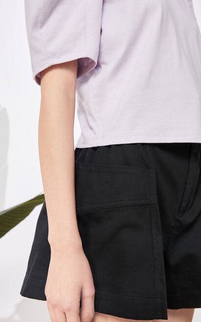 時髦甜美泡泡袖短款上衣, 紫紅色, large