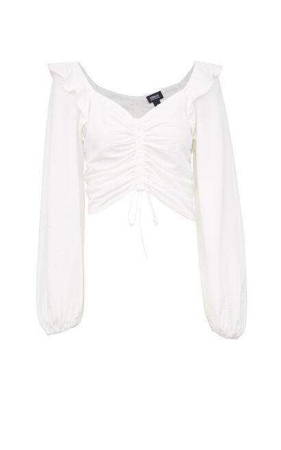 短版修身抽繩泡袖上衣, 白, large