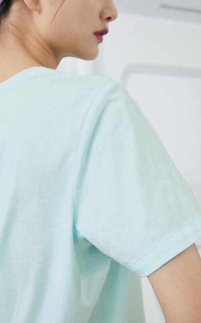黑科技玻尿酸時髦印花上衣, 藍, large