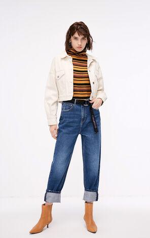 冬季新款寬鬆高腰九分牛仔褲女|118349647