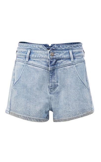 鑽飾風格牛仔短褲, 黑, large