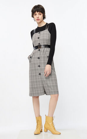 格紋兩件套針織吊帶洋裝