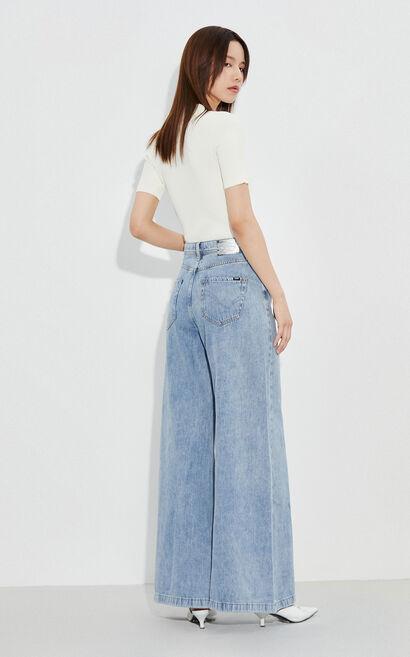 時尚潮流高腰寬鬆休閒牛仔褲, 藍, large
