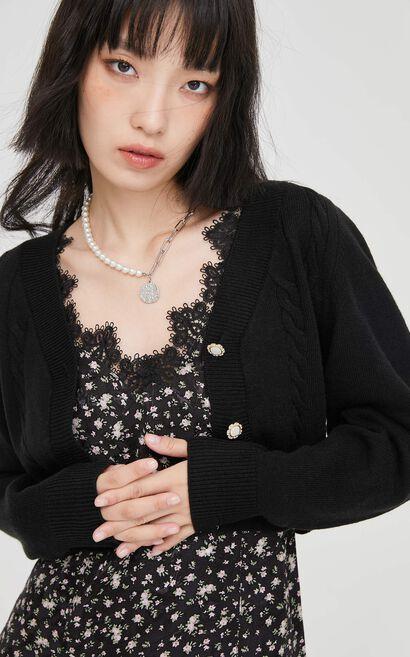 氣質碎花針織外套兩件式洋裝, 黑, large