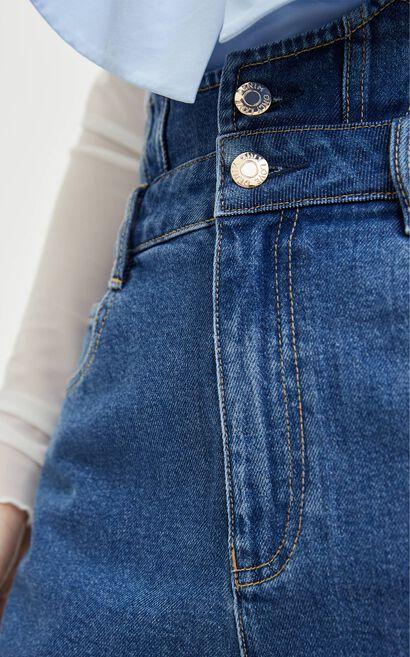 雙腰頭牛仔短褲, 水藍色, large