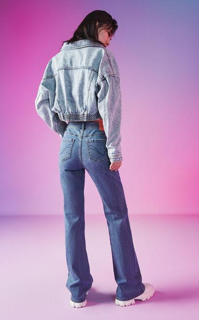 微喇顯瘦百搭休閒牛仔褲, 藍, large