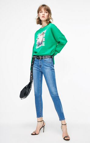ONLY2019春季新款英文字合身顯瘦彈力牛仔褲 119132542