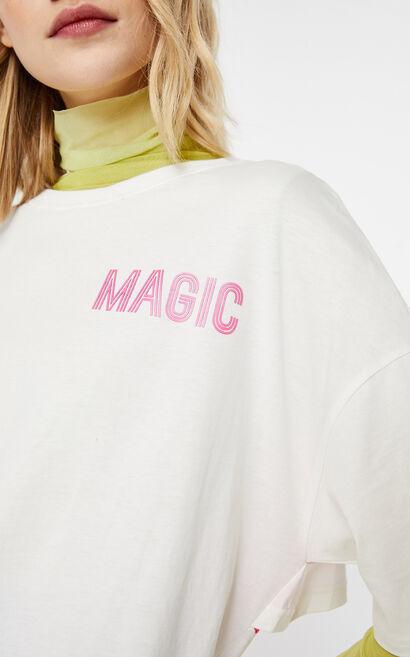 鏤空拼接設計字母T恤, 白, large