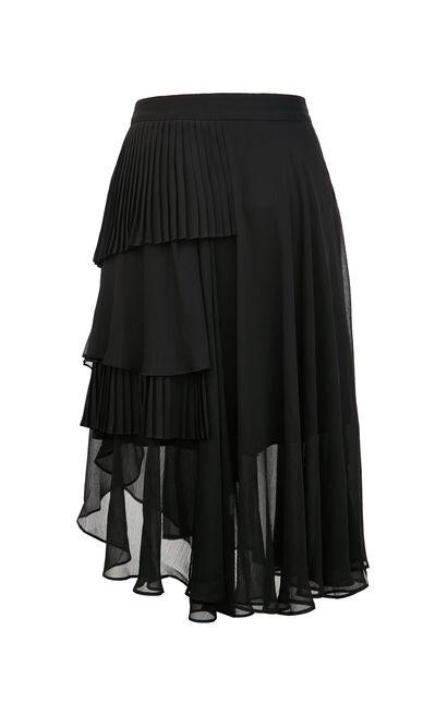 不規則中長蛋糕裙, 黑, large