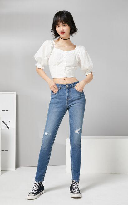 【秋冬新款】中腰合身磨損不規則腳口百搭牛仔褲, 淺藍, large
