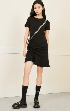 心形刺繡裙擺抽繩設計洋裝