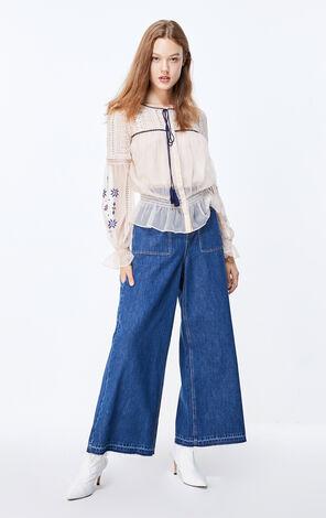 ONLY2019秋季新款不收邊高腰闊腿牛仔褲|119332502