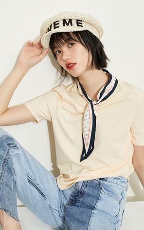 甜美寬鬆休閒絲巾領短袖T恤