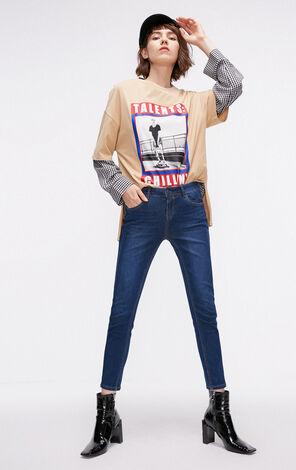 秋季新款低腰刺繡牛仔褲女|118349594