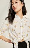 氣質繫帶設計感七分袖襯衫, 棕色, large
