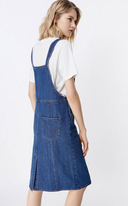 顯瘦後開叉牛仔吊帶裙, 藍, large