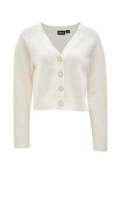 氣質百搭舒適V領毛針織衫, 白, large