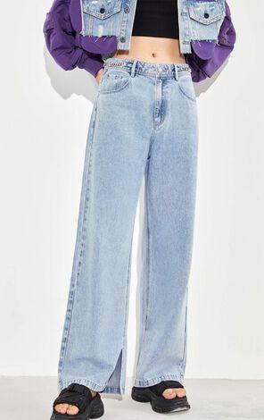率性褲管開叉高腰直筒牛仔褲
