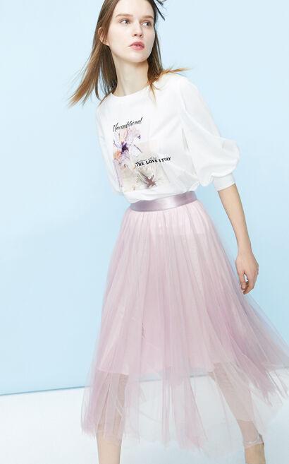 透視網紗中長款雪紡裙, 紫紅色, large