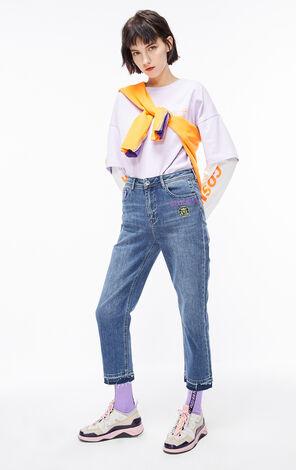 立體膠印不收邊九分直筒牛仔褲