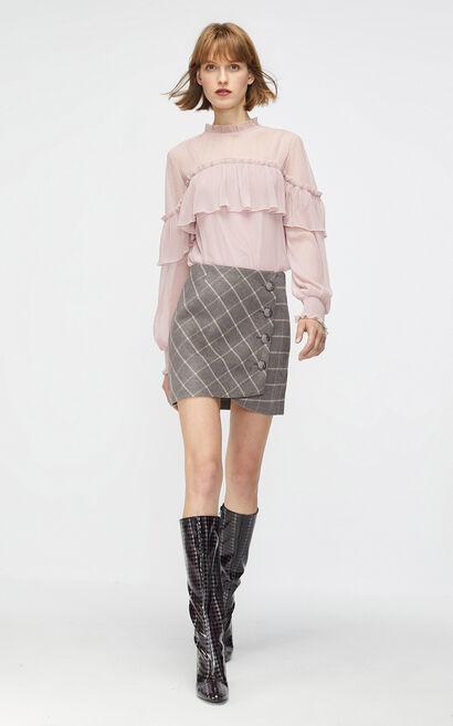 格紋毛呢A字顯瘦短裙, 淺灰, large