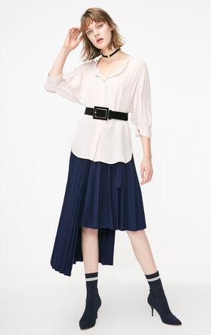 ONLY2019春季新款chic慵懶寬鬆V領雪紡衫