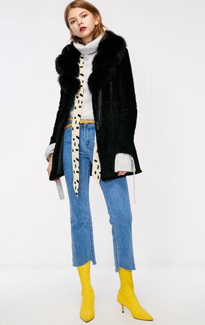 冬季新款絨面毛領皮衣外套女|118328503
