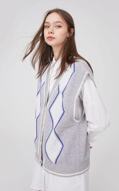 時尚甜美短款兩件式針織洋裝, 灰色, large