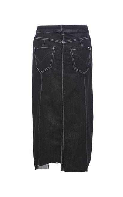 率性俐落修身牛仔A字裙, 黑, large