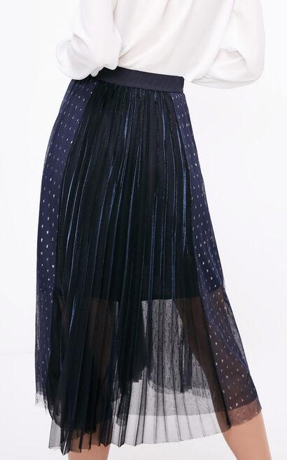 ONLY2019春季新款亮絲網紗百褶裙|11911G516, 藍, large