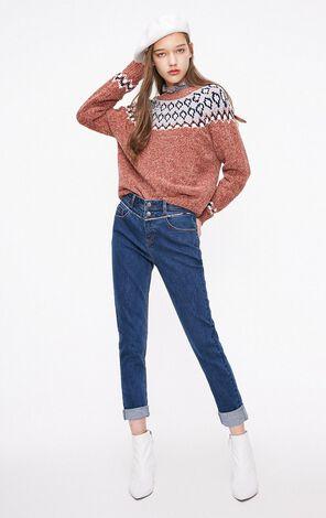 ONLY2019春季新款拚接顯瘦合身牛仔褲 119132519