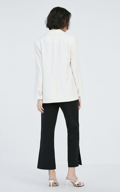 多紐扣壓線西裝外套, 白, large