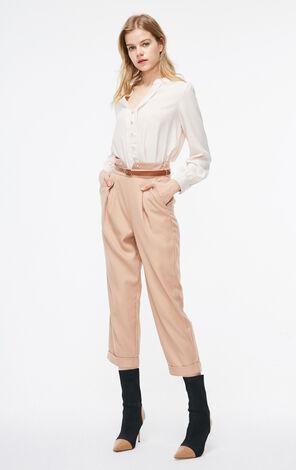 ONLY2019春季新款氣質珍珠釦長袖雪紡襯衫|119105505