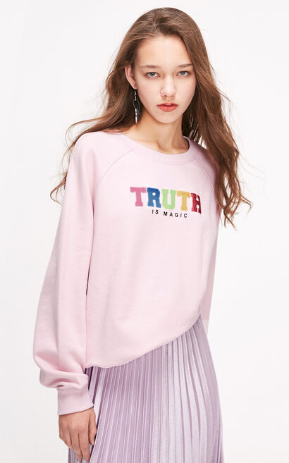 ONLY2019春季新款少女粉色寬鬆套頭衛衣|11919S545, 粉色, large