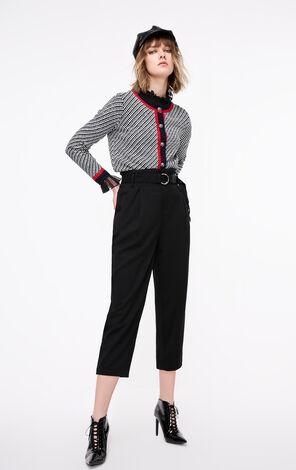 ONLY2019春季新款高腰寬鬆闊腿九分休閒褲|119150512