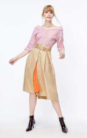 ONLY2019秋季新款洋氣工裝高腰A字半身裙女|119316512