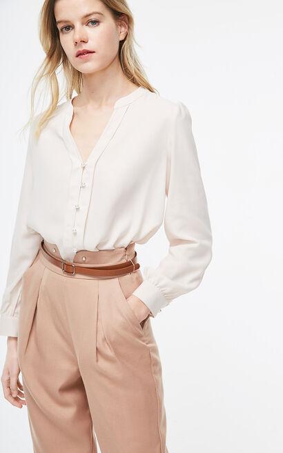 ONLY2019春季新款氣質珍珠釦長袖雪紡襯衫|119105505, 白, large